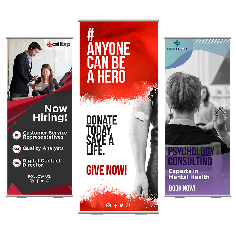 33 X 80 Inch Full Color Roll Up Retractable Banner Stands