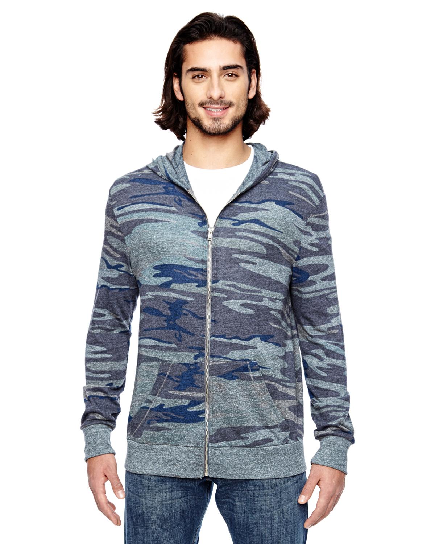 Alternative Mens Eco Long-Sleeve Printed Zip Hoodie