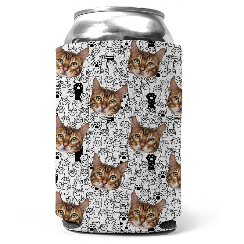 Custom Cat And Paw Collage Can Coolers