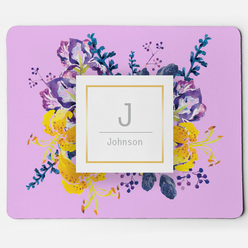 Custom Floral Monogram Mouse Pad