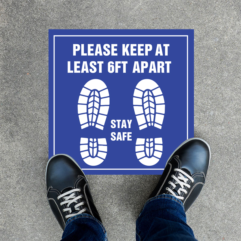Stay Safe Square Floor Decals