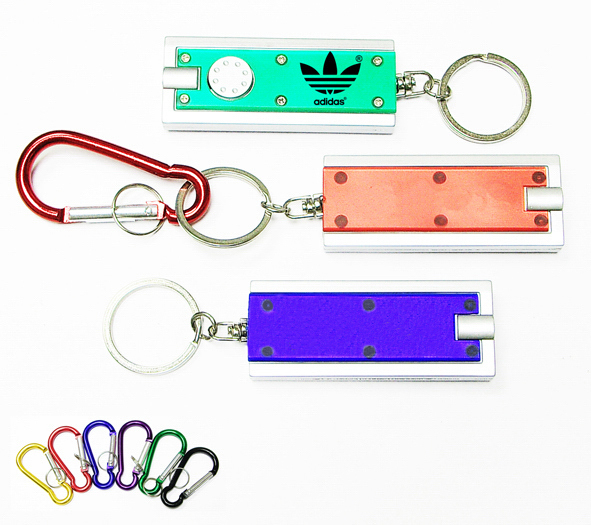 Translucent Rectanguler Flashlight Key Chain And Carabiner