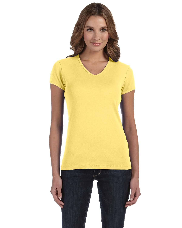 fa00182e4 Bella Ladies Stretch Rib Short-Sleeve V-Neck T-Shirt | Short Sleeve ...