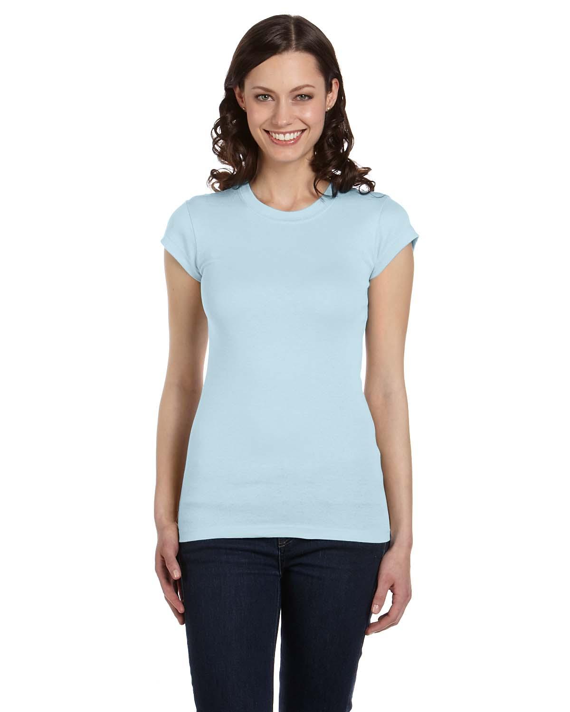 Bella Ladies Sheer Mini Rib Short-Sleeve T-Shirt