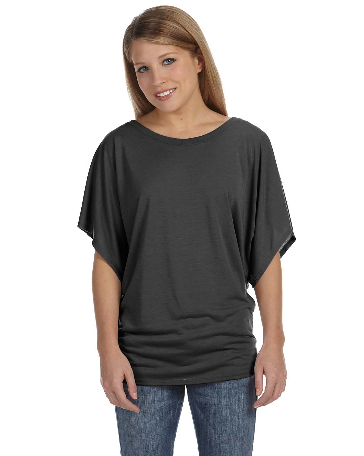 Bella Ladies Flowy Draped Sleeve Dolman T-Shirt