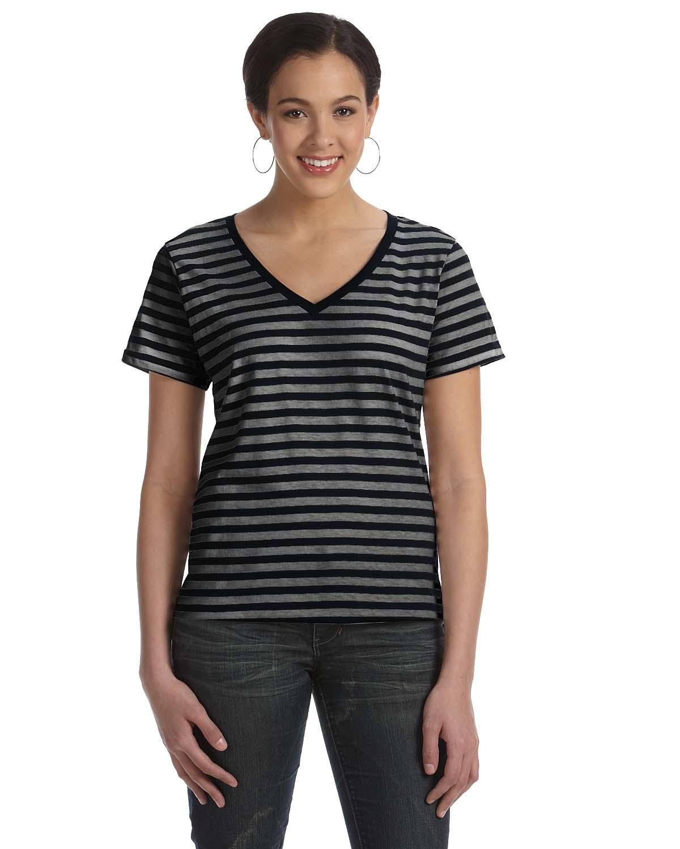 9186a7bfe Anvil Ladies Lightweight Striped V-Neck T-Shirt | Ladies & Juniors ...