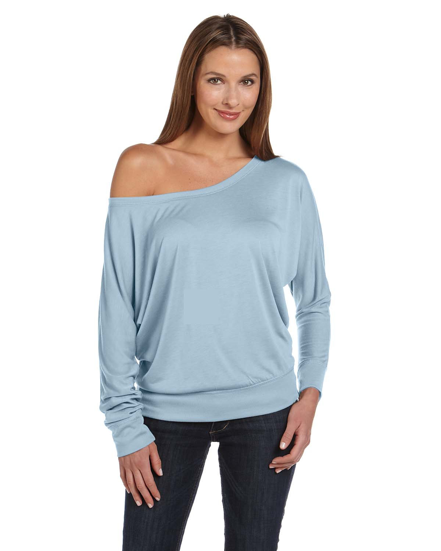 Bella Ladies Flowy Long-Sleeve Off Shoulder T-Shirt