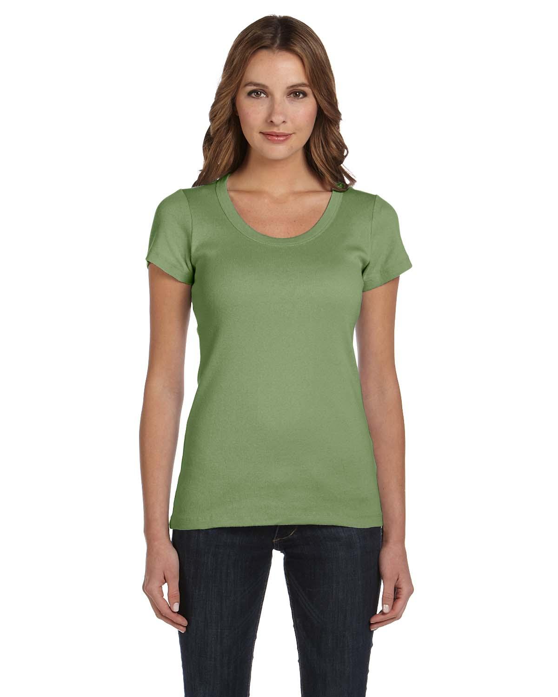 Bella Ladies Stretch Rib Short-Sleeve Scoop Neck T-Shirt