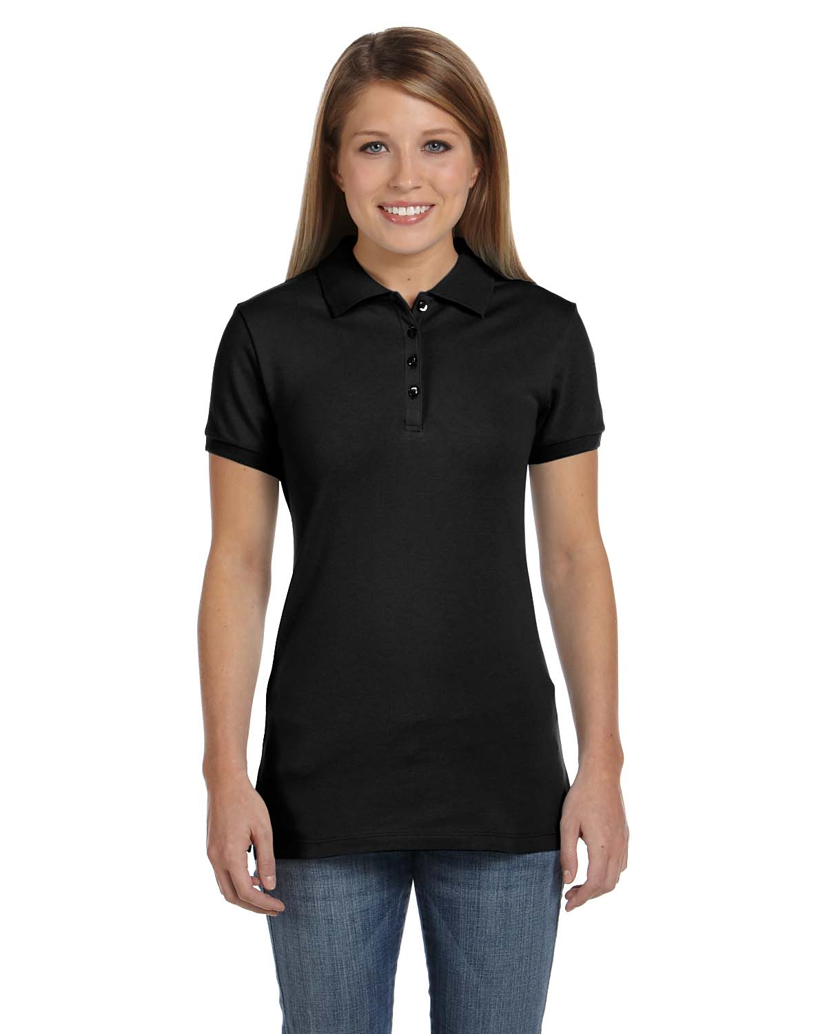 Bella Ladies Cotton Spandex Mini Pique Short-Sleeve Polo