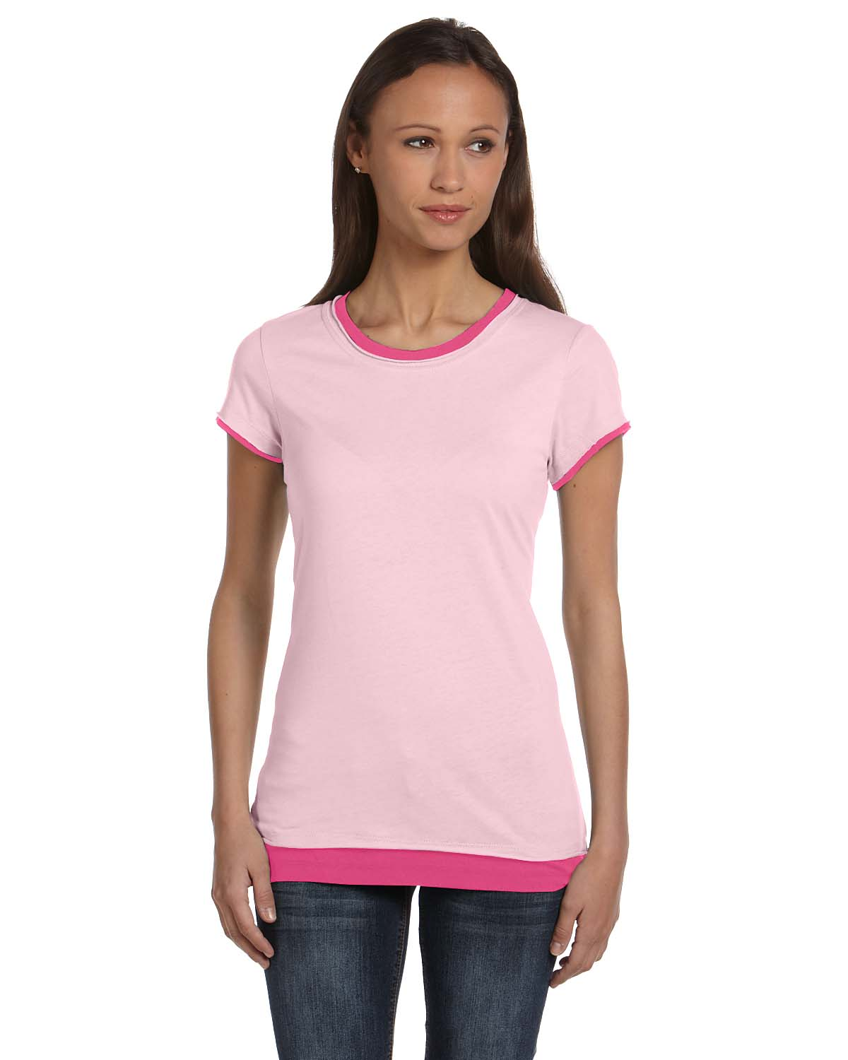 Bella Ladies Sheer Jersey Short-Sleeve 2-in-1 T-Shirt