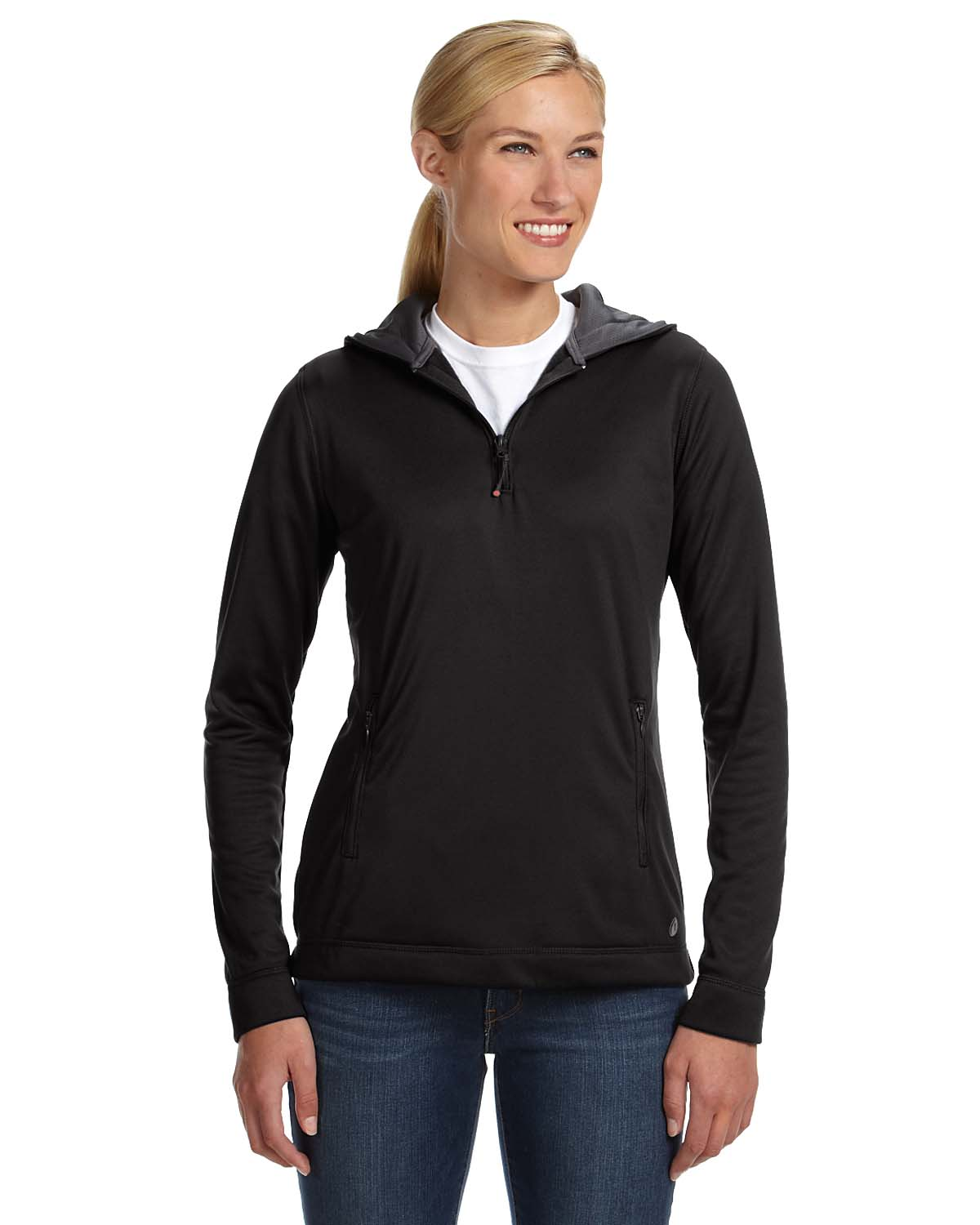Russell Athletic Ladies Tech Fleece Quarter-Zip Pullover Hood