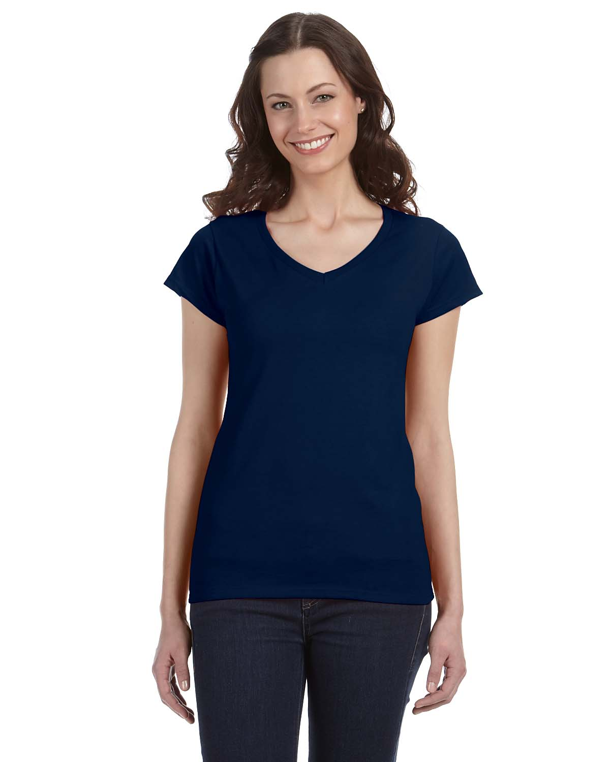 Gildan SoftStyle® Ladies 4.5 Oz. Junior Fit V-Neck T-Shirt