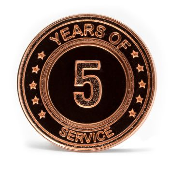 5 Years Of Service Stock Lapel Pins