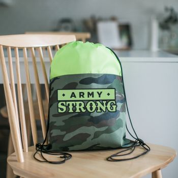 Colored Camo Drawstring Tote Bags