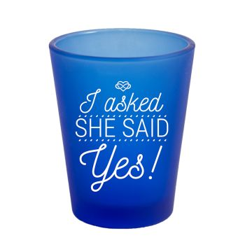 Customized Frosted Blue Shot Glass- 1.75 oz.