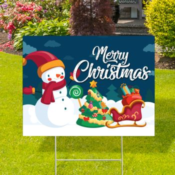 Merry Christmas Snowman Yard Signs