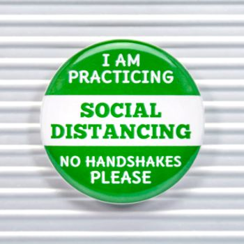 No Handshakes Social Distancing Pin Buttons