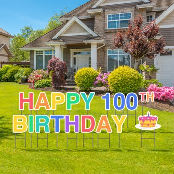 Pre-Packaged Happy 100th Birthday Yard Letters