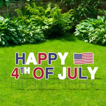 Pre-Packaged Happy 4th Of July Yard Letters