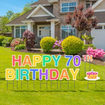 Pre-Packaged Happy 70th Birthday Yard Letters