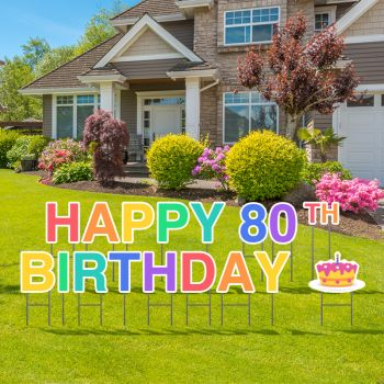 Pre-Packaged Happy 80th Birthday Yard Letters