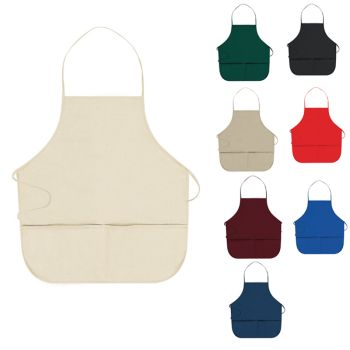 Screen Printed 7.5 oz. Cotton Blend Twill Two Pocket Medium Bib Apron