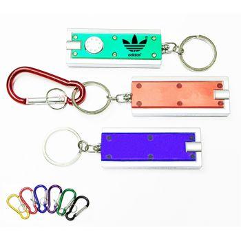 Translucent Rectangular Flashlight Key Chain and Carabiner