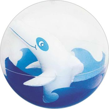 Transparent Beach Ball with Inflatable Dolphin