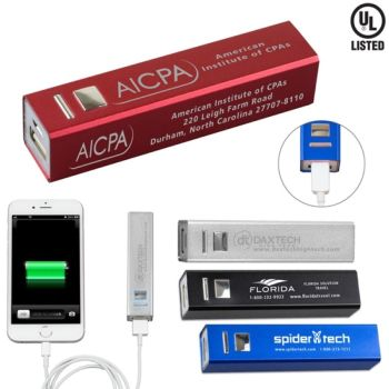 UL Listed Aluminium 2200 mAh Lithium Ion Portable Power Bank
