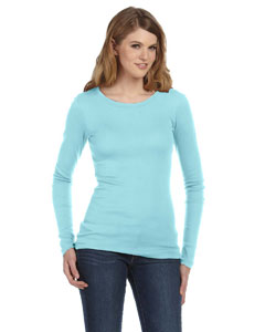 Custom Bella Ladies Sheer Mini Rib Long-sleeve T-shirt