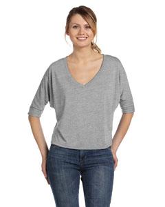 Custom Bella Ladies Flowy Boxy Half-sleeve V-neck T-shirt