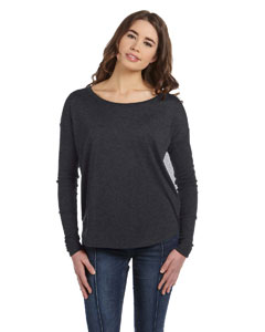 Custom Bella Ladies Flowy Long-sleeve T-shirt With 2x1 Sleeves