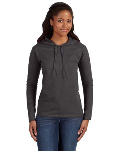 Custom Anvil Ladies Lightweight Long-sleeve Hooded T-shirt