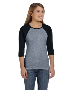 Custom Bella Ladies Stretch Rib 3/4-sleeve Contrast Raglan T-shirt
