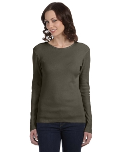 Custom Bella Ladies Stretch Rib Long-sleeve T-shirt