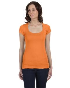Custom Bella Ladies Sheer Mini Rib Short-sleeve Scoop Neck T-shirt