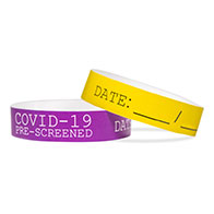 COVID-19 Pre Screened Tyvek Wristbands