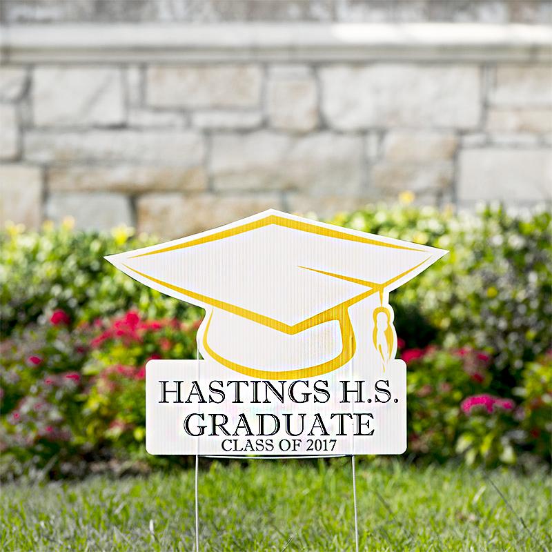 Graduation Hat Yard Signs Custom Shaped Yard Signs