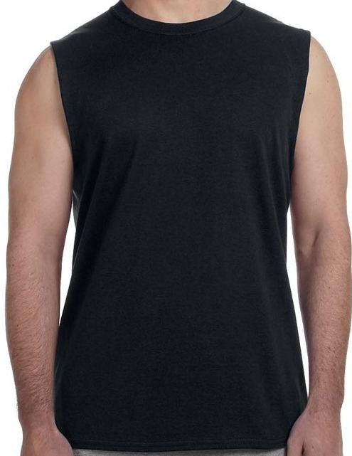 Men Fashion Solid Color Round Neck Gorilla with Headphones Fitness Tank Undershirts