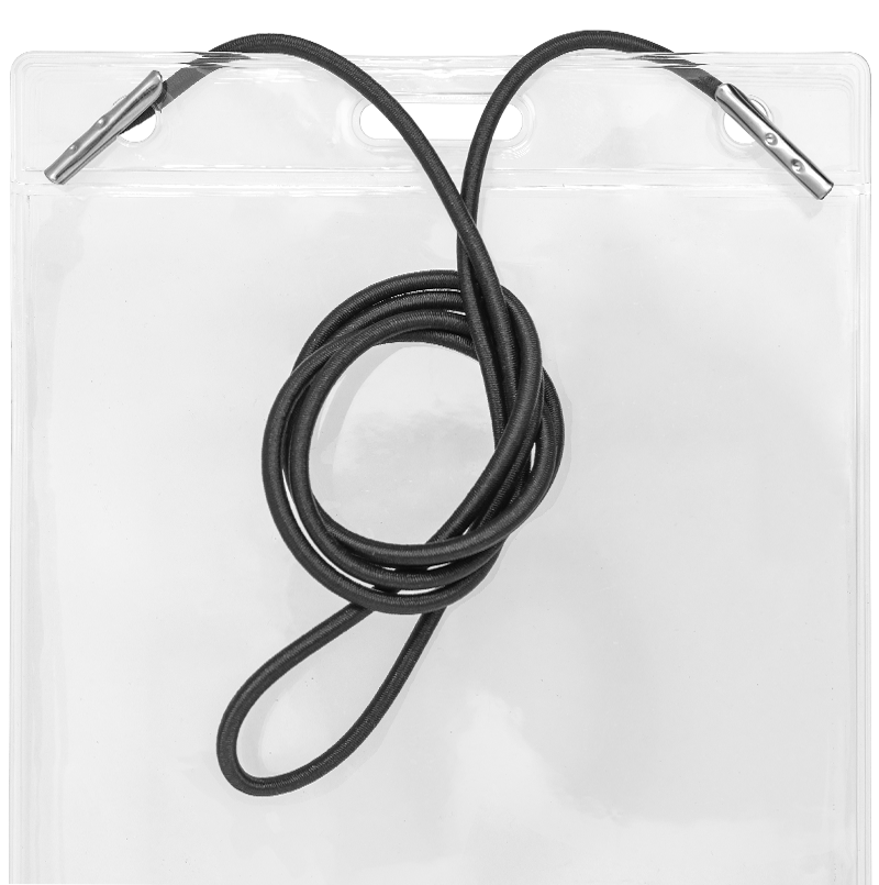 Zip Badge Holder with Elastic Cord