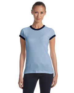 Bella Ladies Stretch Rib Short-sleeve Ringer T-shirt