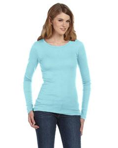 Bella Ladies Sheer Mini Rib Long-sleeve T-shirt