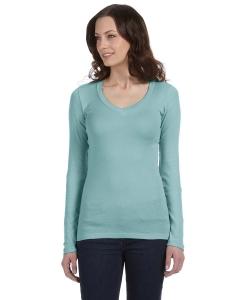 Bella Ladies Sheer Mini Rib Long-sleeve V-neck T-shirt